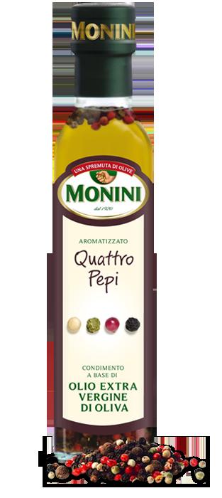 Оливковое масло четыре перца Monini Quattro pepi extra vergine, 250 мл.