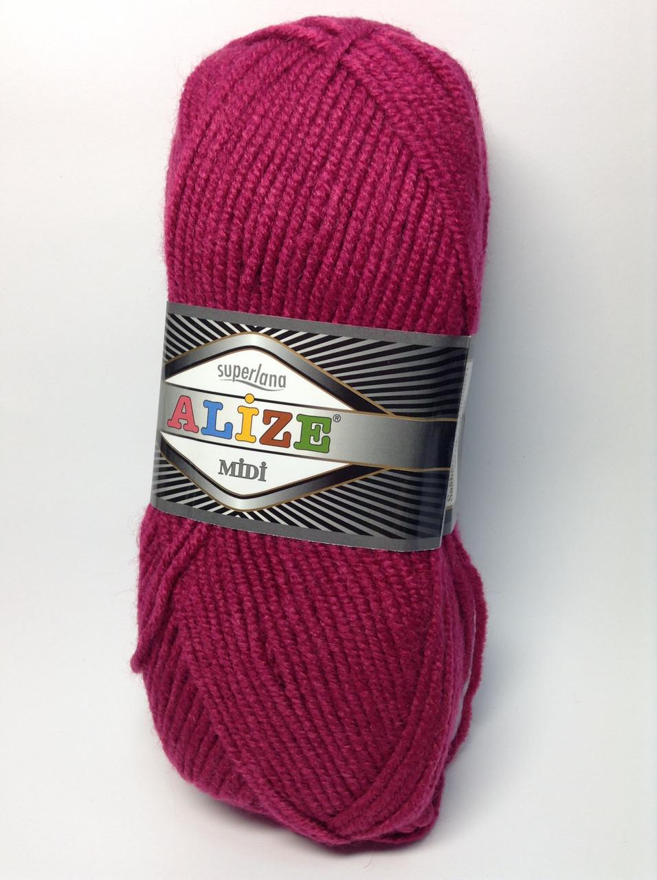 Пряжа superlana midi - цвет малиновый