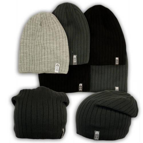 Вязаная шапка для мальчика, подкладка флис, код. V1020