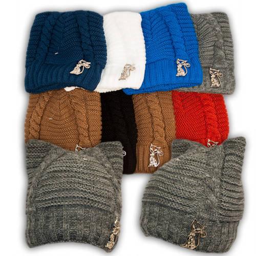 Вязаная шапка с ушками и брошкой для девочек, подкладка флис, код. V202
