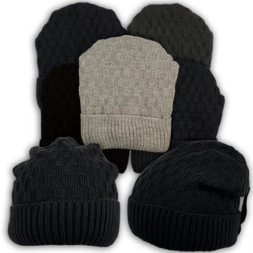 Вязаная шапка с защипом для мальчика, подкладка флис, код. V299