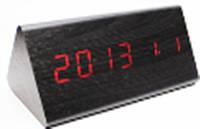 Настольные часы декоративные VST-861-1 с красной подсветкой в виде деревянного бруска