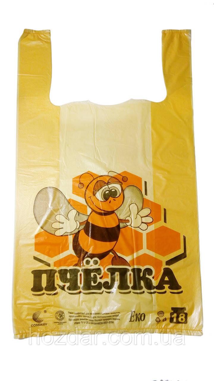 "Пакет майка с рисунком ""ЭКО Пчёлка"" 28х47 250шт."