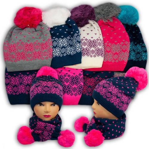 Шапка и шарф для девочек, подкладка флис, код. V324
