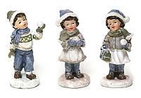 Декоративная статуэтка Детки 6.2х3.8х9.4 Елочная игрушка BDi 492-C14 , 3 вида, керамика уп12