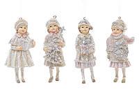 Елочная игрушка Девочка с подарками 6.5х4.5х12см BDi 707-140 подвесная фигурка , 4 вида, керамика уп6