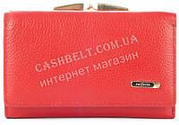 Стильный женский компактный кожаный кошелек SALFEITE art. 2115 красного цвета овальное лого