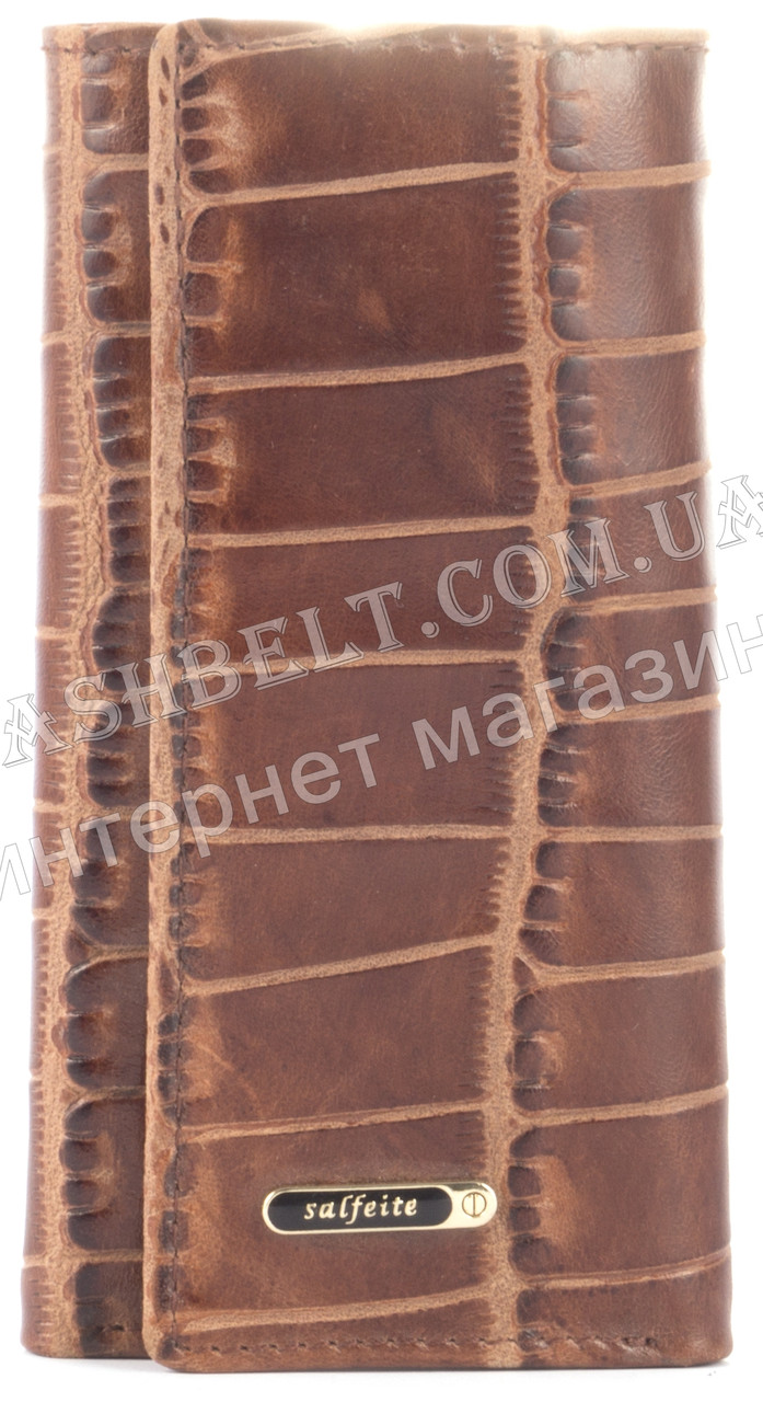 Стильная прочная компактная надежная кожаная ключница SALFEITE art. 2232BT-E83 коричневый