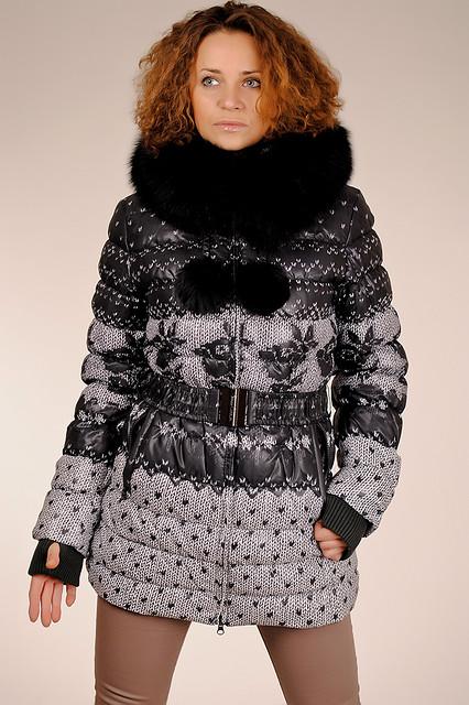 Женская натуральная пуховая куртка с принтом с капюшоном с мехом песца  SNOW CLASSIC скидка