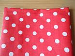 Отрез ткани №195а ткань с белым 1см горошком на красном фоне размер 73*160, фото 2