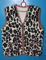 Теплая жилетка из овечьей шерсти - леопард