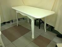 Стол деревянный кухонный Гаити 160(+50)х85х75 (белый. ваниль. бежевый)