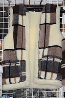 Теплая безрукавка из овечьей шерсти бежево-коричневая