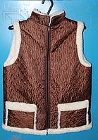 Тепла безрукавка на овечої вовни - коричнева