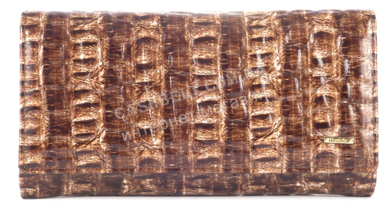 Вместительный оригинальный кожаный лаковый женский кошелек коричневго цвета H.Verde art.2470-F13