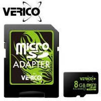 MicroSDHC 8Gb VERICO (4class) with adapter, фото 1