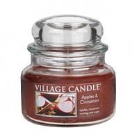 """Ароматическая свеча в стекле Village Candle """"Яблоко и корица"""". 315 гр/ 55 часов"""