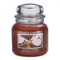 """Ароматическая свеча в стекле Village Candle """"Яблоко и корица"""". 445 гр/ 105 часов"""