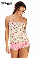 Пижама женская майка и шортики ,ткань вискоза принт, цвет только такой ,супер качество вч № 288