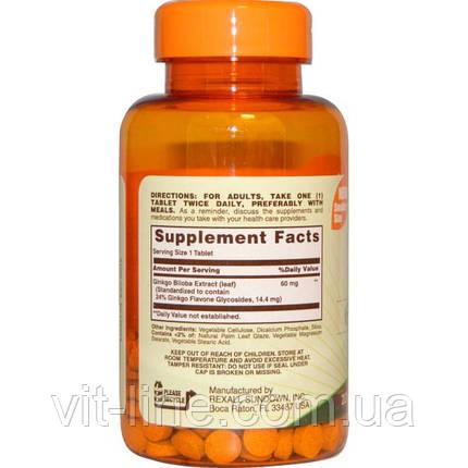 Sundown Naturals, Гинкго двулопастный, 60 мг, 200 таблеток, фото 2