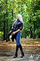 Черная куртка-пальто с плащевки и кашемира. Арт -8597/72