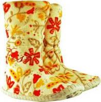 Бежевые женские тапочки - сапожки с красными цветами на мягкой подошве, для ламината и паркета