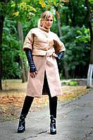 Бежевая куртка-пальто с плащевки и кашемира. Арт -8597/72