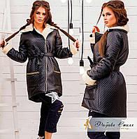 Стильная черная  курточка из эко-кожи с манжетами из искусственной овчины. Арт -8596/72