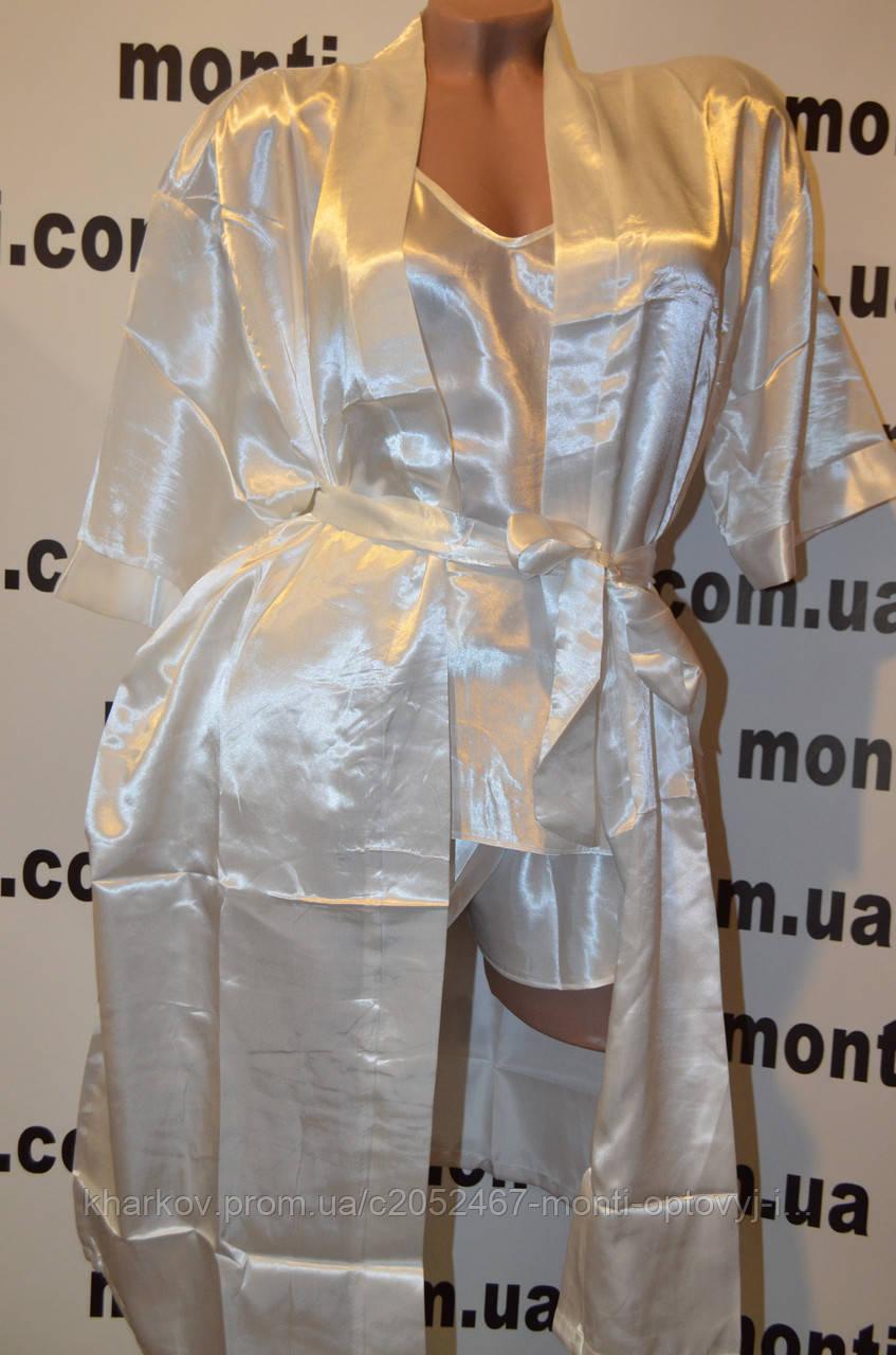 Комплект халат з пеньюаром і шортами розмір XXL