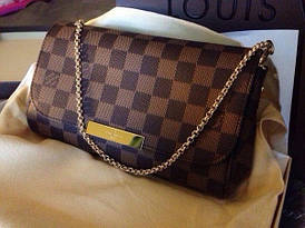 Клатч Louis Vuitton Favorite коричневая шахматка, кожа