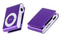 Cупер новинка Mp3 clip метал+ usb +наушники фиолет