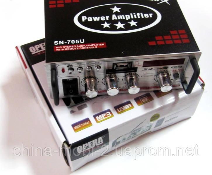 Усилитель  ресивер  OPERA SN-705U MP3 SD USB AUX FM 12v   220v