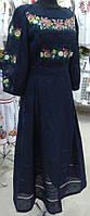 """#вишиванка жіноча, сукня """"Квіти на синьому льоні"""" (Арт. 01673)"""