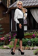 Классическая элегантная юбка. Умеренная длинна чуть ниже колен с кожаными вставками по бокам
