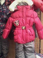 Детские теплые комбинезоны с подстежкой-овчинка для девочек 1-5 лет малиново-серый