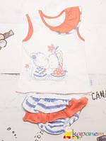 Летний комплект майка трусики с рюшами р.86 для девочки ТМ Ля-ля