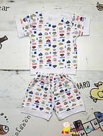 Комплект для мальчика футболка и шорты на возраст 3-4мес