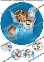 Вафельная картинка С крестинами  А4