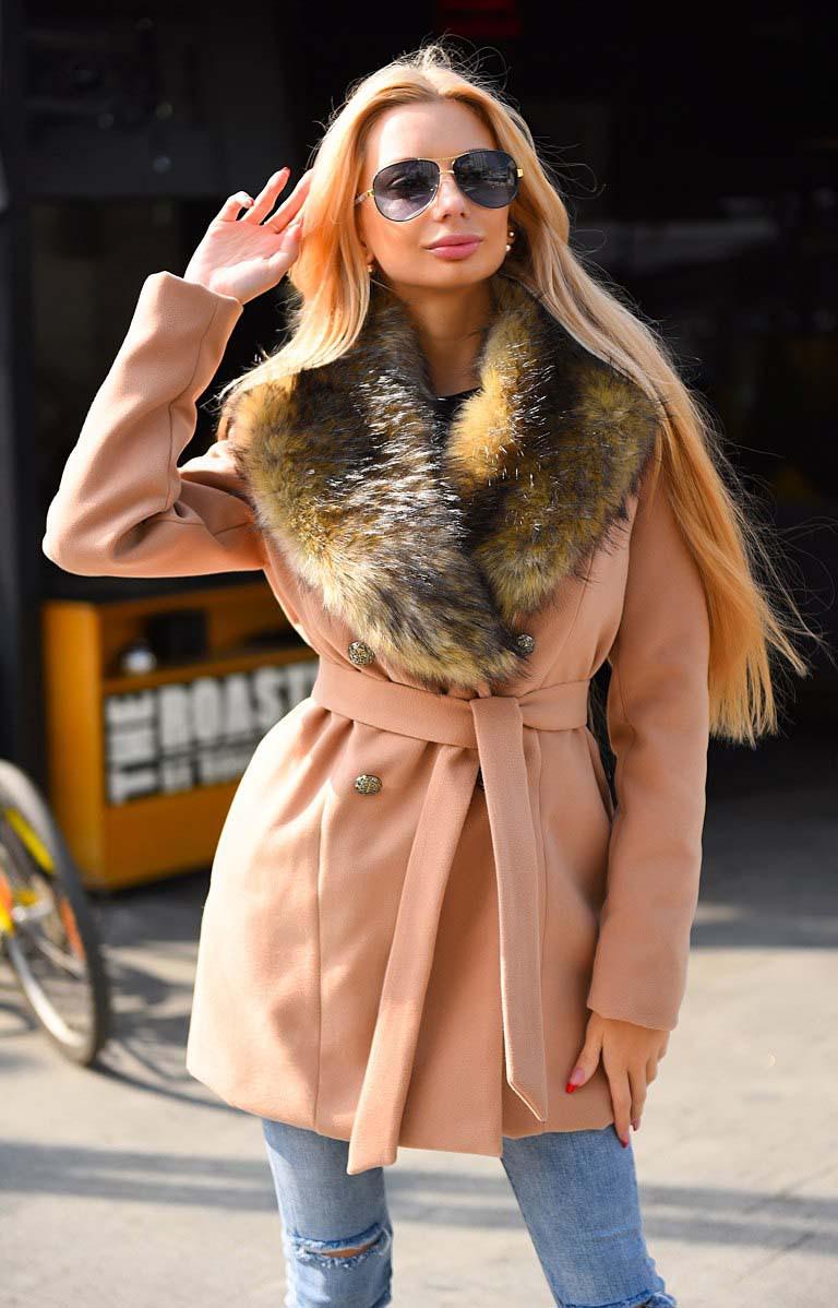 """Тёплое женское короткое пальто на силиконе 8082 """"Кашемир Енот Мех"""" в расцветках"""