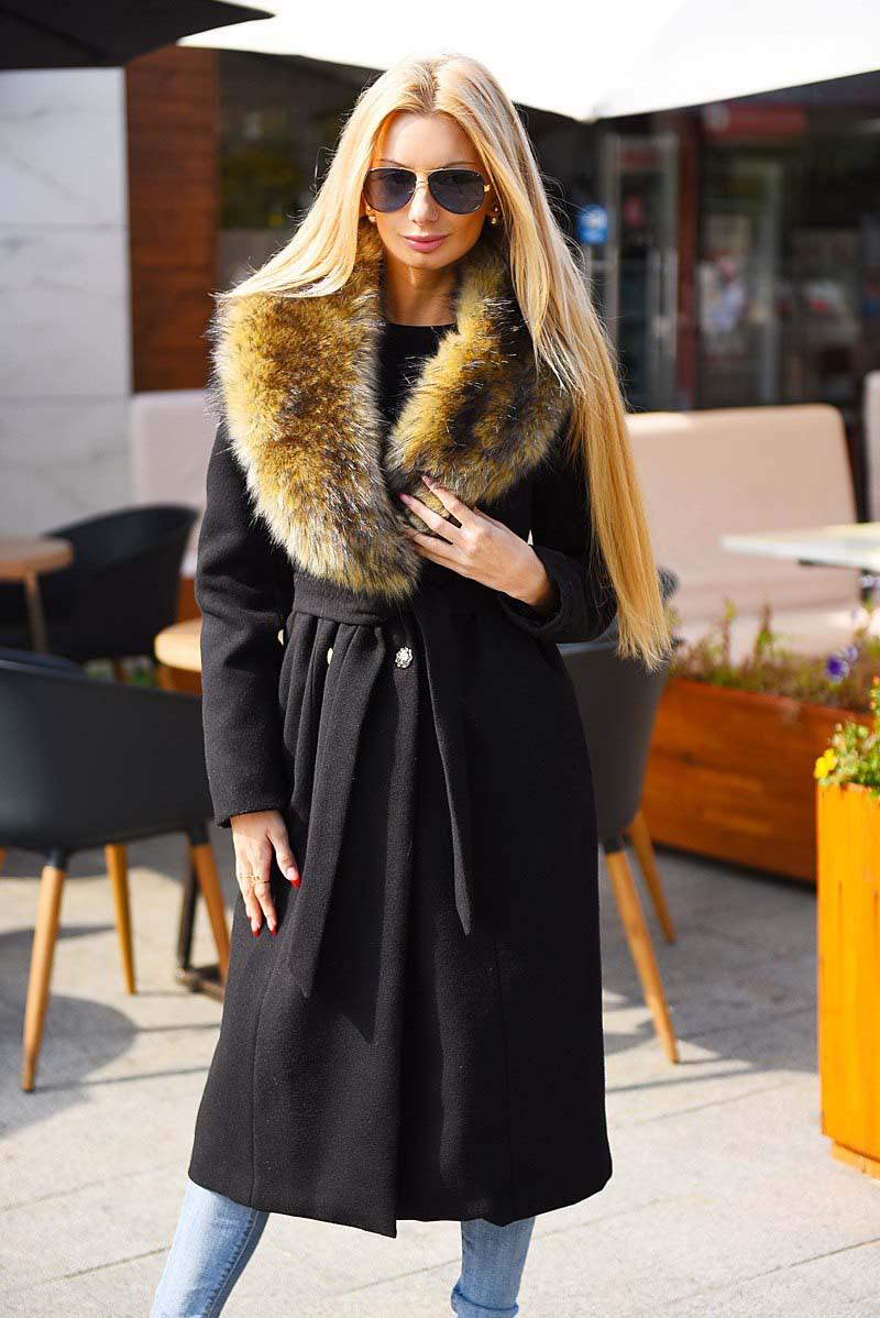 """Тёплое женское пальто средней длины на силиконе 8083 """"Кашемир Енот Мех"""" в расцветках"""