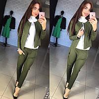 """Стильный, оригинальный костюм """"Жакет + брюки с мотней, контрастная отделочная строчка"""" РАЗНЫЕ ЦВЕТА"""