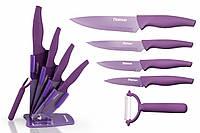 Набор кухонных ножей 6 пр. FANTASIA с керамической Y-овощечистка на акриловой подставке (нерж. Сталь)
