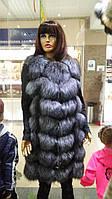 Роскошная жилетка длинная чернобурки