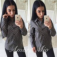 Стильная женская рубашка (классический фасон, красивый яркий принт)  РАЗНЫЕ ЦВЕТА!