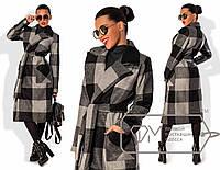 Элегантное женское пальто (кашемир, длина ниже колен, пояс на завязке, модная клетка) РАЗНЫЕ ЦВЕТА!