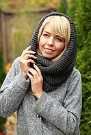 Снуд хомут шапка шарф шерстяной серый