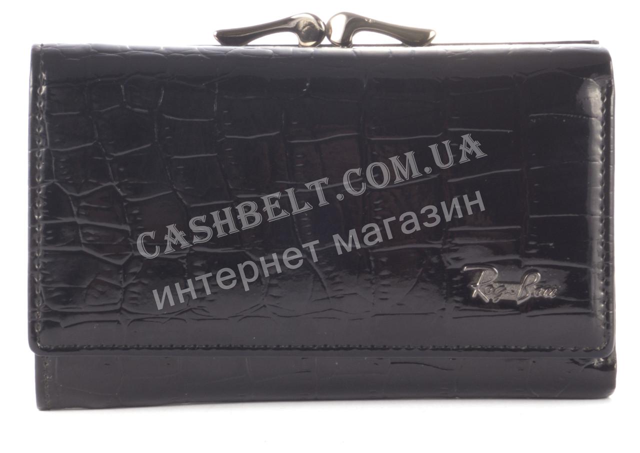 Стильный небольшой прочный лаковый кожаный женский кошелек  ROG BON art. R1603 черный