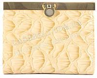Стильный небольшой лаковый кожаный качественный женский кошелек LISON KAOBERG art. LK57-57008 C беж