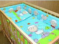 Защита бампер в детскую кроватку Барашки бирюзовый