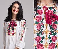 Необыкновенная вышитая блуза для девочки на домотканом полотне